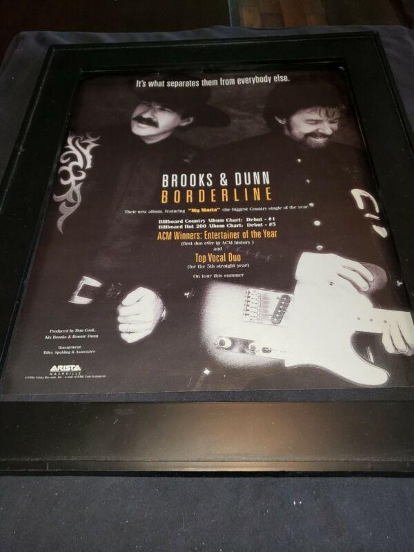 Brooks And Dunn Borderline Rare Original Promo Poster Ad Framed!