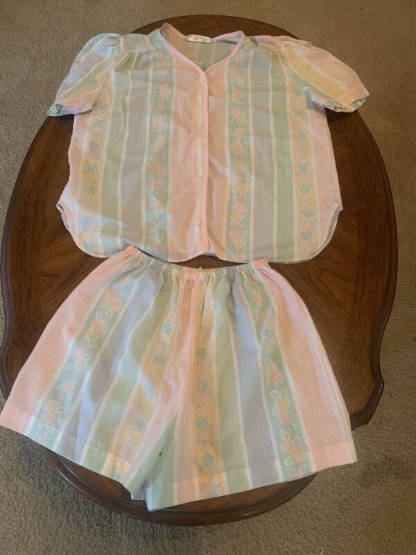 Komar Made In USA Short Set Pajamas Pink Green