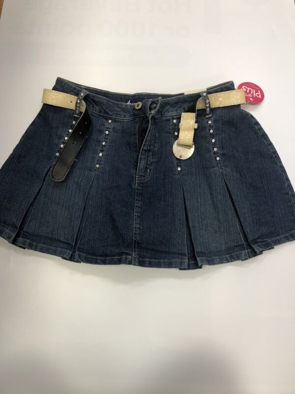 Arizona - Girls Pleated Jean Skirt/Skort~ Size 16 1/2 Plus/Grande