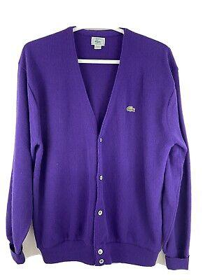 Vintage 1991 Izod Lacoste Cardigan Sweater Button Down Purple Acrylic Sz XL USA