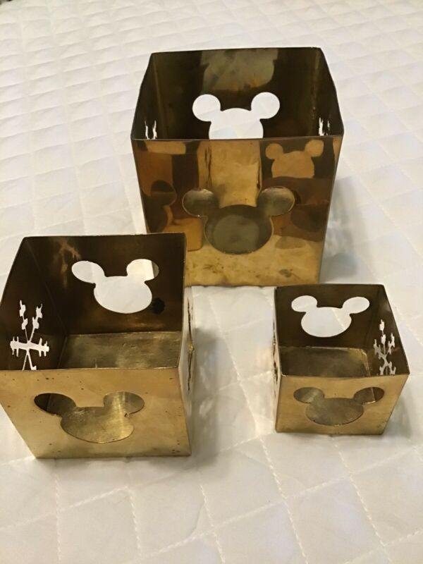 Lot Of 3 Brass Disney Mickey Mouse Candle Holders Cubes Cutout Ears