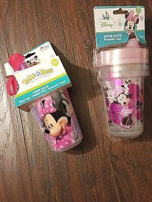 DISNEY Baby/Kids MINNIE 6 Reusable 10 oz SIPPY CUPS~BPA Free~bonus travel