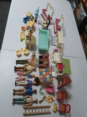 LOT Fisher Price Family Doll House Furniture Accessories Vintage Mattel People