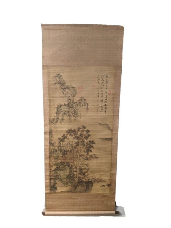 "Large 77"" Vintage Asian Wall Hang Scroll Silk Painting Asian Art Signed Kakemono"