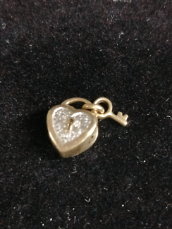 Michael Hill 10ct gold Heart and Key charm with diamonds