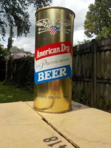 16 OZ AMERICAN DRY NEW YORK NY FLAT TOP OLD BEER CAN HALF QUART