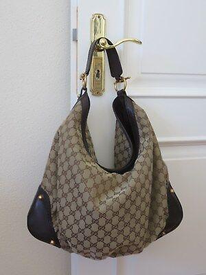 Canvas Leder Hobo Bag (Gucci Handtasche, Shopper, Signature