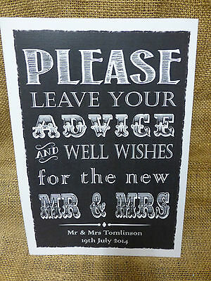 GUEST BOOK SIGN A4 Vintage Chalkboard style PERSONALISED WEDDING WISH TREE SIGN