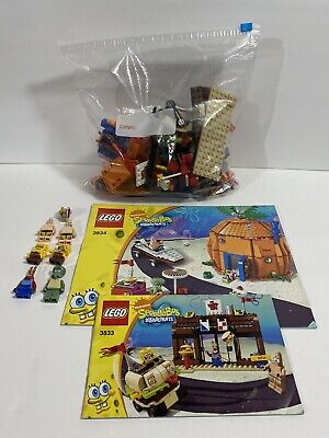 LEGO 3834 Good Neighbors 3833 Krusty Krab W/Minifigs Manuals READ DESCRIPTION