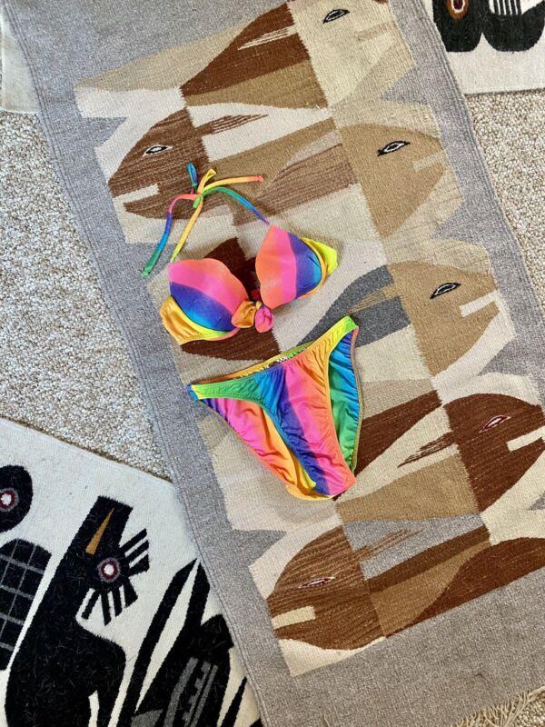 Vintage 90s Rainbow Sparkle High Waisted Bikini Swim Suit by Ipanema size M