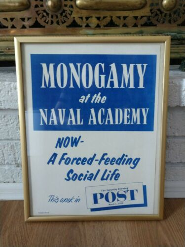 Framed Vintage Monogamy at the Naval Academy 1958 Saturday Evening Post Poster