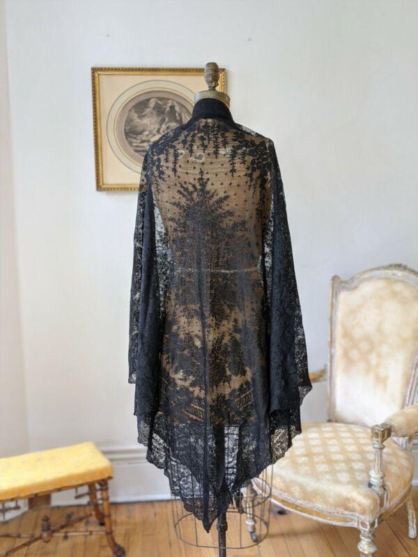 Antique Victorian Era Chantilly Lace Shawl 4 Dress 1890s Mourning Shawl