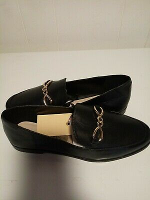 Zara shoes new women Black Leather Loafers Gold Chain  Slip On Flat 38 NWT