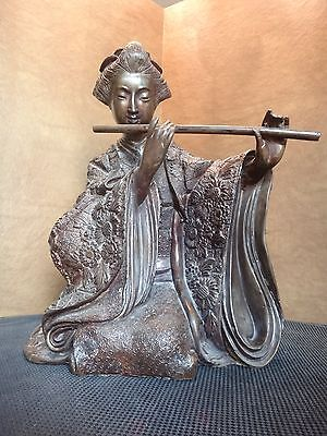 LARGE ANTIQUE BRONZE SEATED GEISHA GIRL PLAYING FLUTE STATUE
