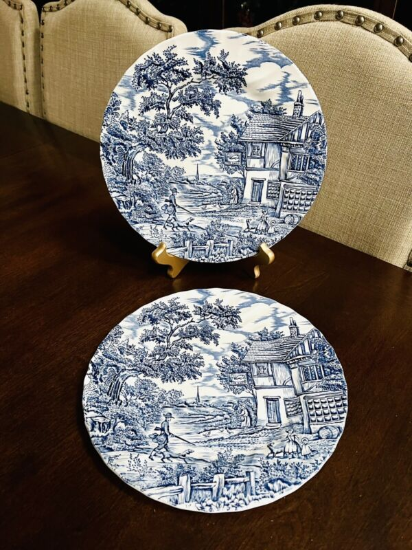 2 Myott Stafforshire The Hunter Dinner Plates Blue White England