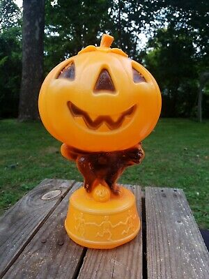 "13 "" short tail Black cat pumpkin blow mold with dancing skeletons base vintage"