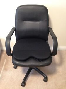 Leather chair with a memory foam cushion