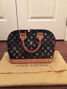 Louis Vuitton black multi colour alma bag