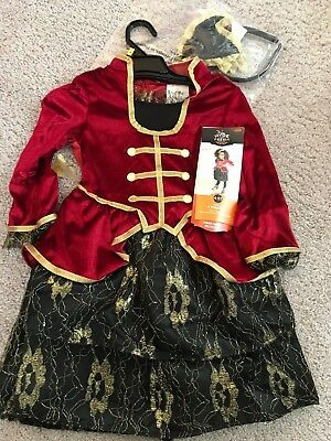 NEW Toddler Girl's Pirate Dress & headband Costume 4-5T Red black