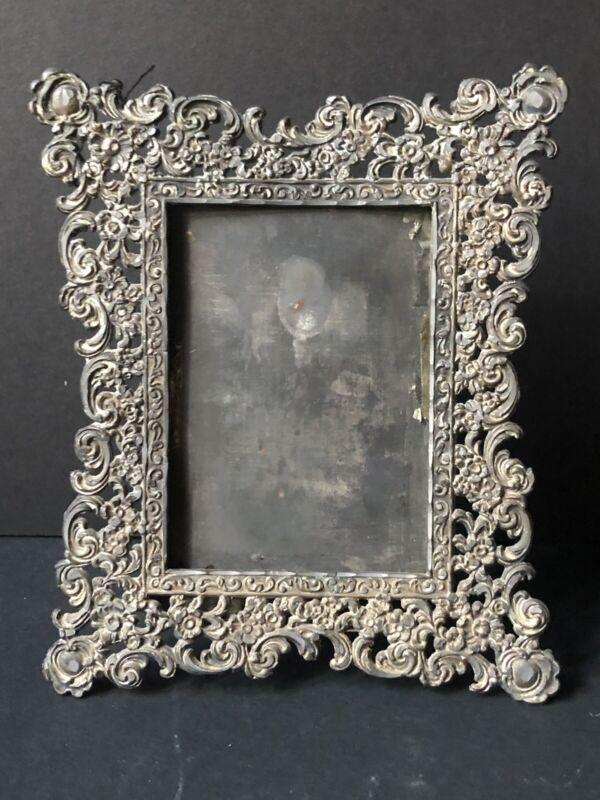 RARE! Vintage METAL Silver Victorian Antique PICTURE Frame STUNNING! ORNATE