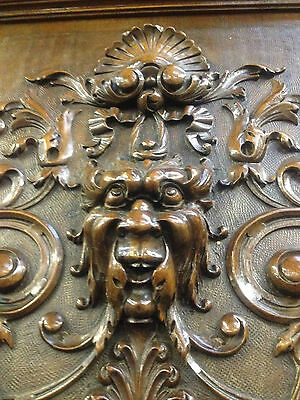 Carved Victorian Walnut Flemish Buffet Bookcase Bacchus Dresser GreenManPussyOak