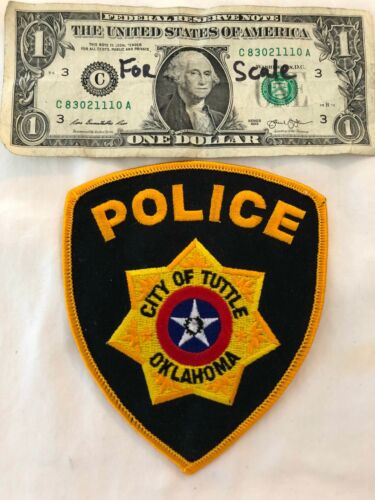 Rare City of Tuttle Oklahoma Police Patch Mint un-sewn Patches (hard to find)