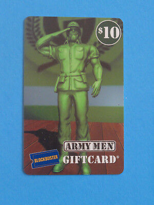 RARE - ARMY MEN  - $10 BLOCKBUSTER GIFT CARD -NO VALUE ON CARD -