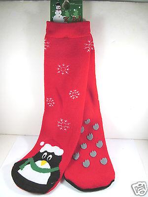 K.Bell Red Snowflake Christmas Penguin Tube Non-Skid Ladies Slipper Socks New ()