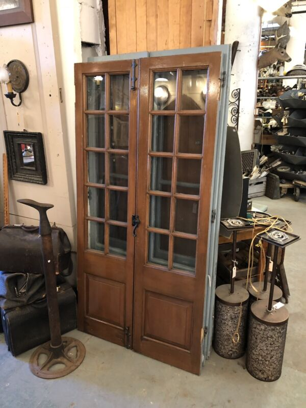 Architect Frank Forster Custom 1930s Panel French Door Storm Screens Threshold
