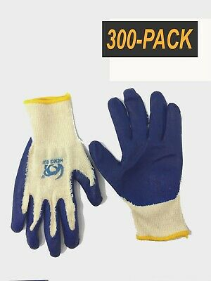300 Pair Pack- Blue Cotton Palm Coated Work Gloves - Size M/L - Comfort Grip