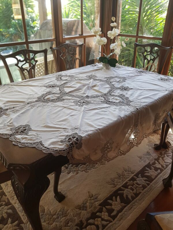 Vintage Round Ecru Cutwork Embroidered Filet Lace Madeira Tablecloth 165cm Cluny