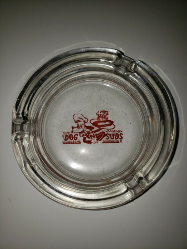 Dogs N Suds Root Beer Glass Ashtray Rare  4""