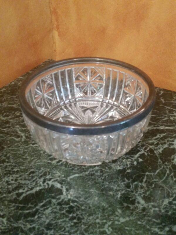 "Stunning Antique Sterling Silver Rim Starburst Bowl 8"""