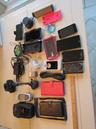 Electronics Collection Lot - Many Items, cell phones, holder, speakers, etc.