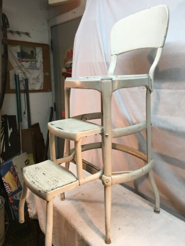 Vtg rustic Steel  Cosco 3  Step Stool Kitchen  Painted  White  Country Cottage