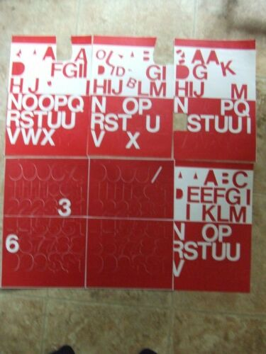 """6 Stick-On Sheets 1-1/2""""  RED VINYL LETTERS & NUMBERS- SOME MISSING BOTH."""