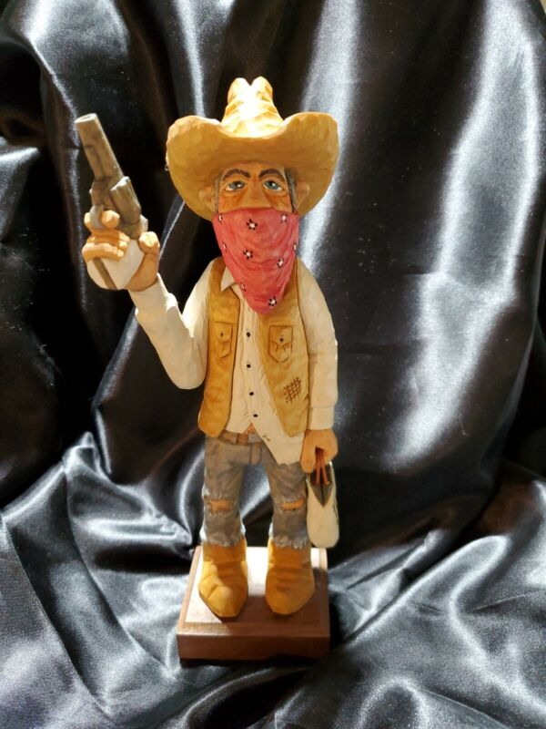 """Wood Carving Cowboy - 9.5"""" tall"""