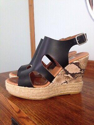 anthropologie Maypol Sandals Shoes Size 38 7.5 US Black Platform