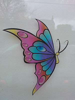 Home Decoration - Multicoloured Butterfly Stained Glass Effect Window decoration Sticker LSSE1
