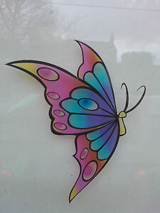 Multicoloured Butterfly Stained Glass Effect Window decoration Sticker LSSE1