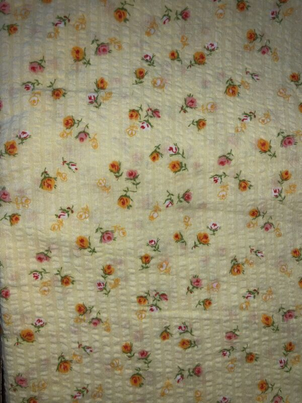 Vintage Cotton Plisse Seersucker Fabric In Pale Yellow With Pink & Orange Roses
