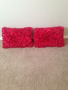 Red decorative cushions