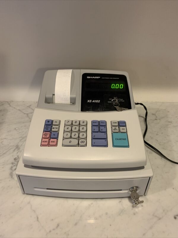 SHARP Electronic Cash Register Model XE-A102 W/ KEYS GREAT Condition