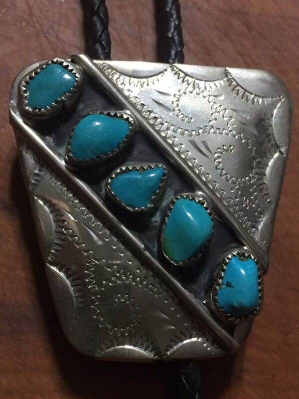 Vintage Silver Bolo Tie Native American 5 Turquoise Stones