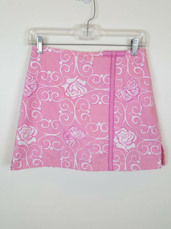 Lilly Pulitzer Pink Skort Size 16 Skirt Shorts Floral Rose Butterfly Scroll Bow