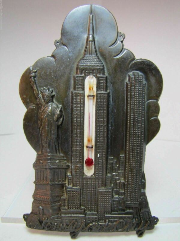 NEW YORK CITY Old Souvenir Thermometer Statue of Liberty Empire State Bldg NYC