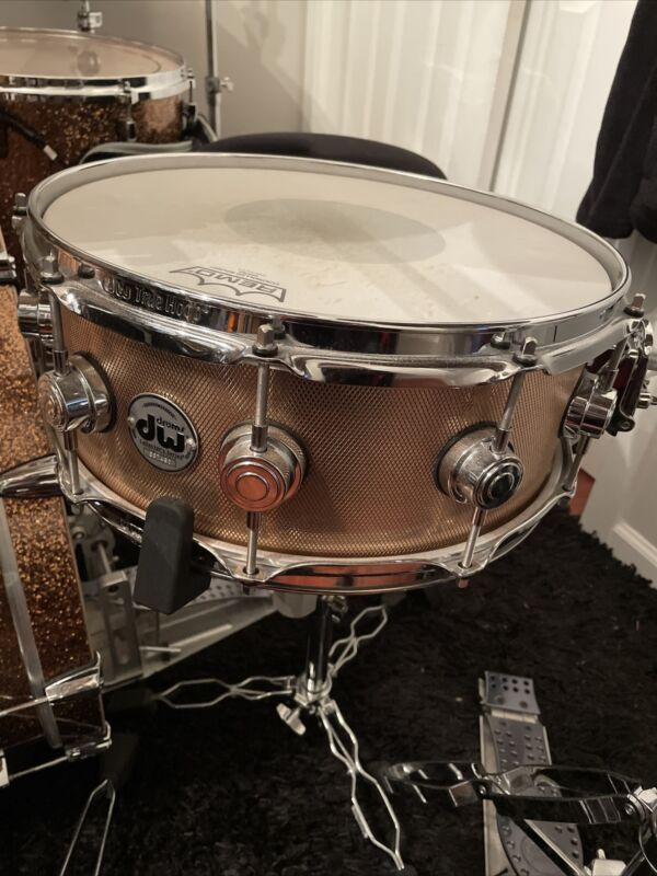 """Dw Collectors Series 5.5 X14"""" Snare Drum Knurled Bronze 3MM Bronze Shell"""