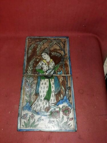 Antique Persian Two Part Tile Musician Middle Eastern