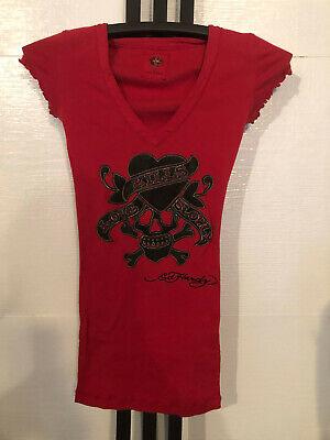 LOVE KILLS SLOWLY red v neck ED HARDY tee shirt blouse size small