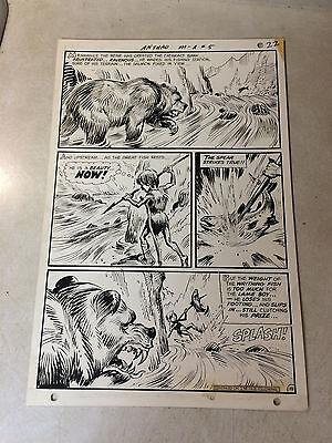 ANTHRO #5 original art 1969, DC, LART SPEAR FISHING, RAVENOUS BEAR, HOWIE POST!